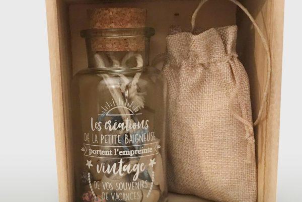 Coffret bouteille et sac de jute